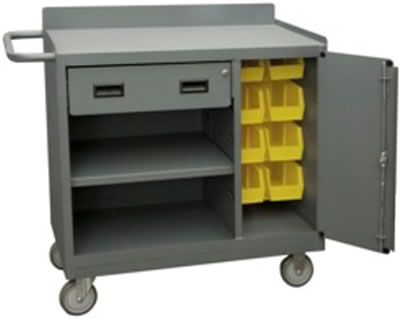 Cabinet Compartment Contains 8 HookOn Bins And Locking Handle With 4 Keys U2022  Ships Fully Assembled U2022 Durable, Gray, Textured Powder Coat Finish