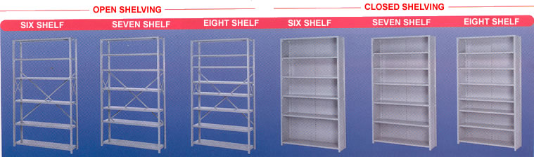 opened and closed shelving