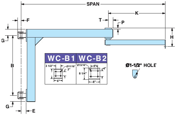articulating jib cranes wall column mounted dimensions
