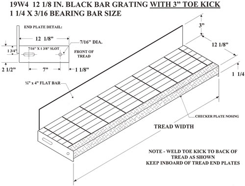 Bar Grating Treads with Toe Kick, Bar Grating Stair Treads ...