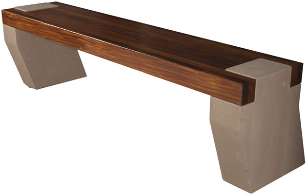 Bench With Concrete Legs And Afromosia Wood Seat, Concrete Benches, Concrete  Furniture, Bench, Benches, Picnic Tables, Concrete Tables, Park Benches