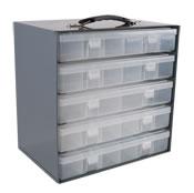 plastic compartment boxes/racks
