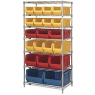 """chrome wire units with huld 24"""" containers"""