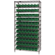Shelf bin wire shelving systems