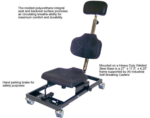 Mounted On A Heavy Duty Welded Steel Base With (4) Self Braking Casters U2022  Degree Of Head Rest Incline 17° U2022 Backrest Tilt +10° To  10° U2022 Seat Tilt  +10° To ...