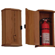 Fire Extinguisher oak cabinets