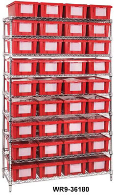 wire shelving systems with bins