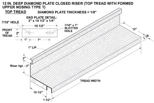 Closed Riser Diamond Plate Steel Stair Tread Galvanized