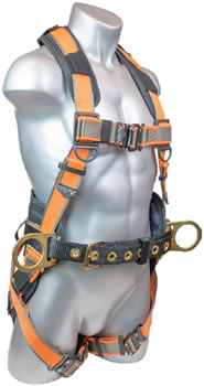These harnesses provides a single back D-Ring, two side D-Rings, multiple adjustment points, and padding on the shoulders, back, waist, and legs for a comfortable fit.
