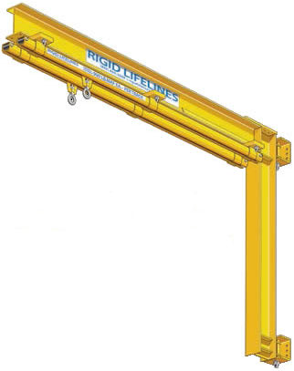Rigid Lifelines Column-Mounted Swing Arm Anchor Track System is a compact system made to minimize swing fall harards.
