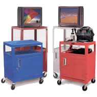 color metal utility carts with security cabinets