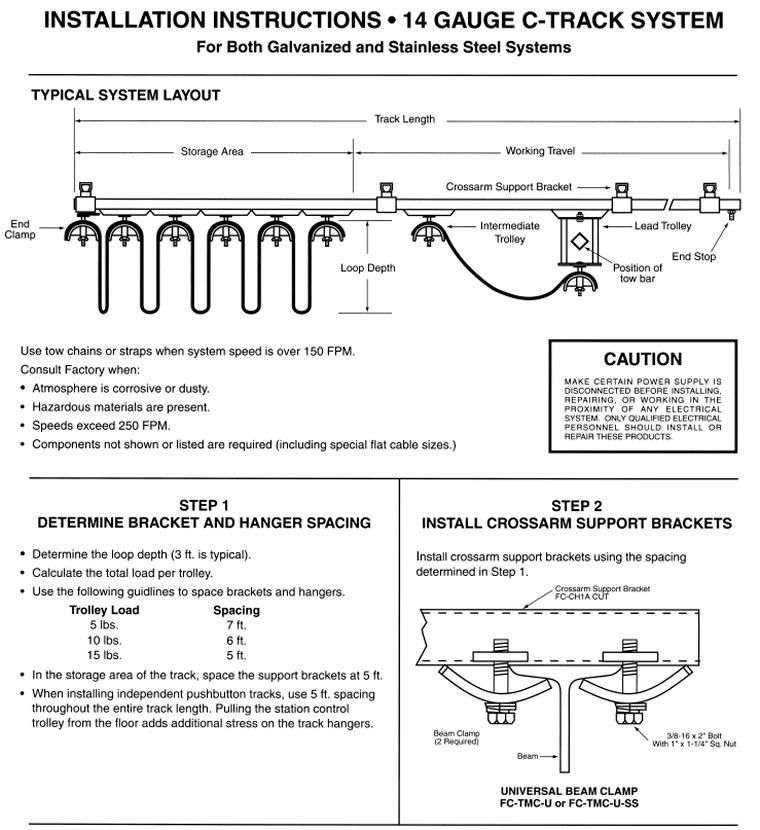 14 gauge c-track system installation instructions