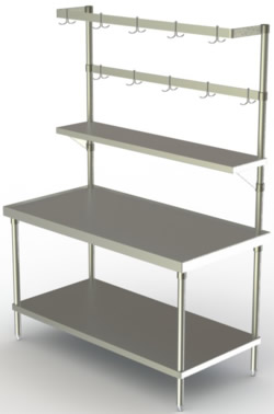 Benches Work Tables Stainless Steel Benches Stainless Steel Work - Stainless steel work table with shelves