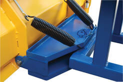 The Fork Truck Snow Plow has adjustable springs that allow the blade to pivot back for safety.