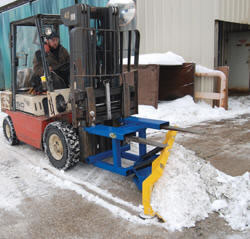 The Fork Truck Snow Plow has a steel construction with a painted finish.