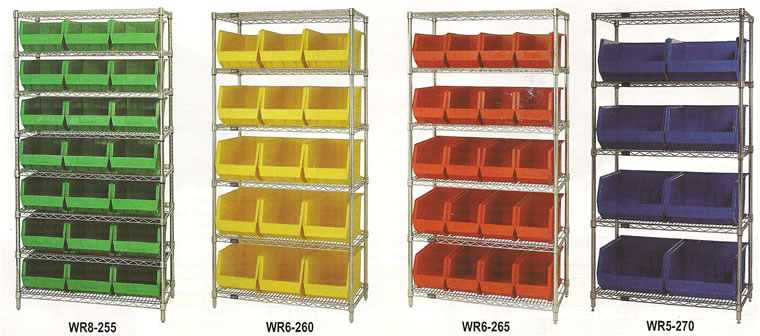18 inch wire shelving systems with bins