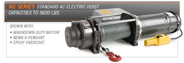 Hg Series Ac Electric Hoists Powered Winches Power Winch