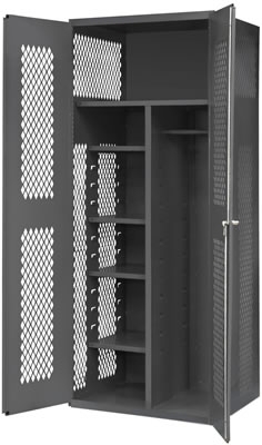Attractive Janitorial Cabinets With Wardrobe/Broom Storage, 1 Fixed Shelf U0026 4  Adjustable Shelves