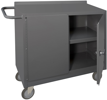 Convenient Sturdy Work Surface U2022 Top Surface Has Back Stop U2022 Tubular Handle  For Ease Of Mobility U2022 Storage Area Has A Locking Handle With 4 Keys