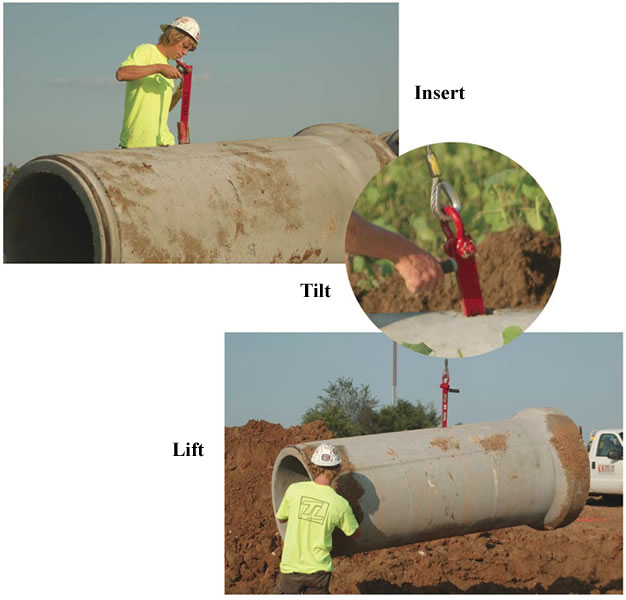 Rinker Materials Concrete Pipe Handling : Pipe lifter lifters pick concrete