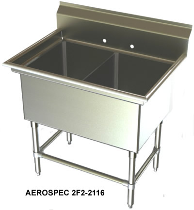 Stainless Steel Utility Sink With Legs : Two Compartment, Sinks, NSF Sinks, Stainless Steel Sink, Utility Sinks