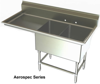 Two Compartments Sinks NSF Sinks Stainless Steel Sink Utility Sinks