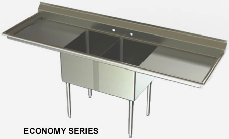 Ordinaire F2LR SERIES, Two Compartment With Two Drainboards. Stainless Steel Nsf Sinks