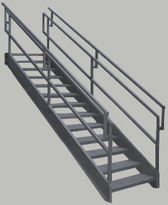STEEP INCLINE STRUCTURAL STEEL STAIRWAYS