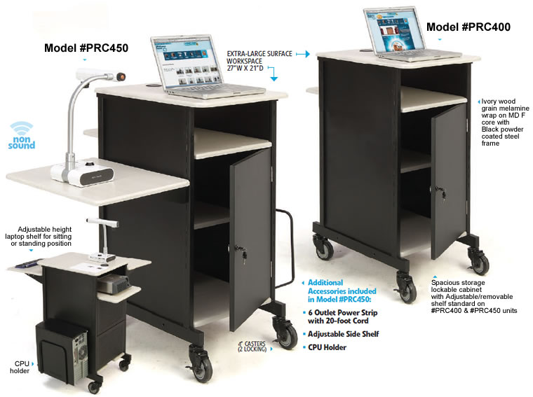 Functional, Wide Presentation Cart With Ample Storage And Display Space For Audio Visual  Equipment Like Lap  Tops, Projectors And Document Cameras.
