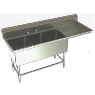 three compartment sinks with right drainboard
