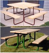 square tables and umbrellas