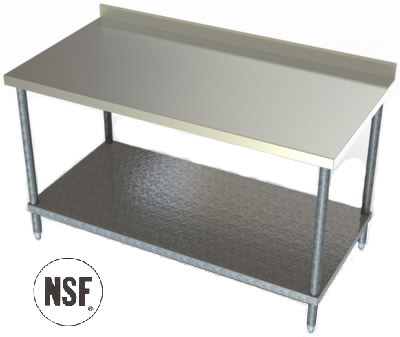 Awesome Stainless Steel Table With Backsplash And Sides Best Home - Stainless steel table with backsplash and sides