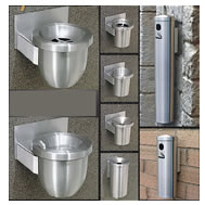 wall mounted ash trash waste receptacles