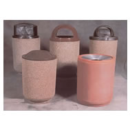 round concrete waste receptacles