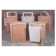 square concrete waste receptacles