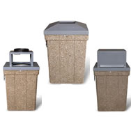 square concrete trash receptacles