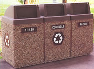 concrete 3 bin recycling waste containers