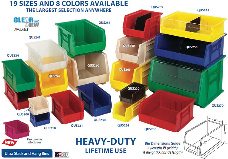 these bins are available in a selection of colors including blue yellow red green ivory and black qus210 qus230 qus240 qus250 also available in