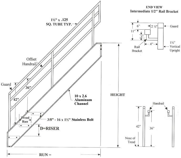 Welded Aluminum Prefab Stairways Galvanized Stairs