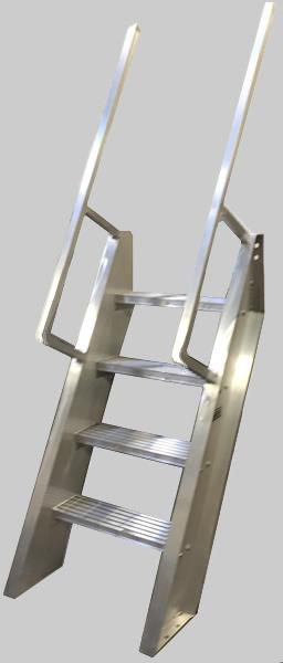 welded aluminum ships ladder  hatch access  roof access ladders  ladders  ships ladder  60 u00b0 ibc