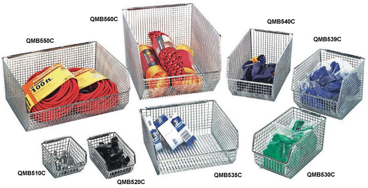 wire mesh stack u0026 hang bins - Metal Storage Bins