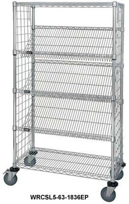 Wire Slanted Shelf Cart Chrome Slanted Mobile Wire Cart